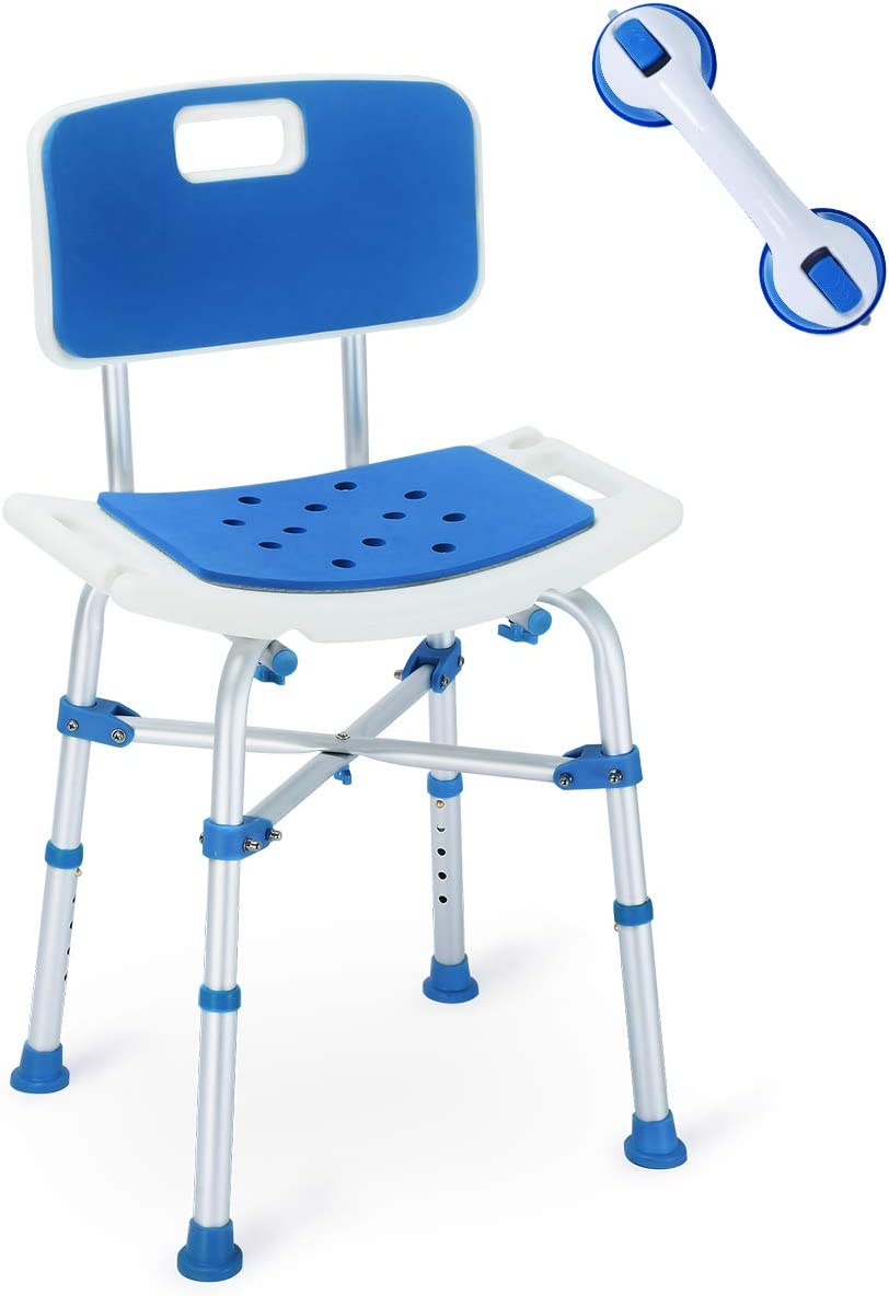 B07QRSLCJB Health Line Massage Products Upgraded Shower Chair, Bariatric Heavy Duty Bath Chair 500 lbs Cap. Transfer Bench w/EVA Paded Seat and Assist Grab Bar (White/Blue) 51czyJjZvcL.SL1200_