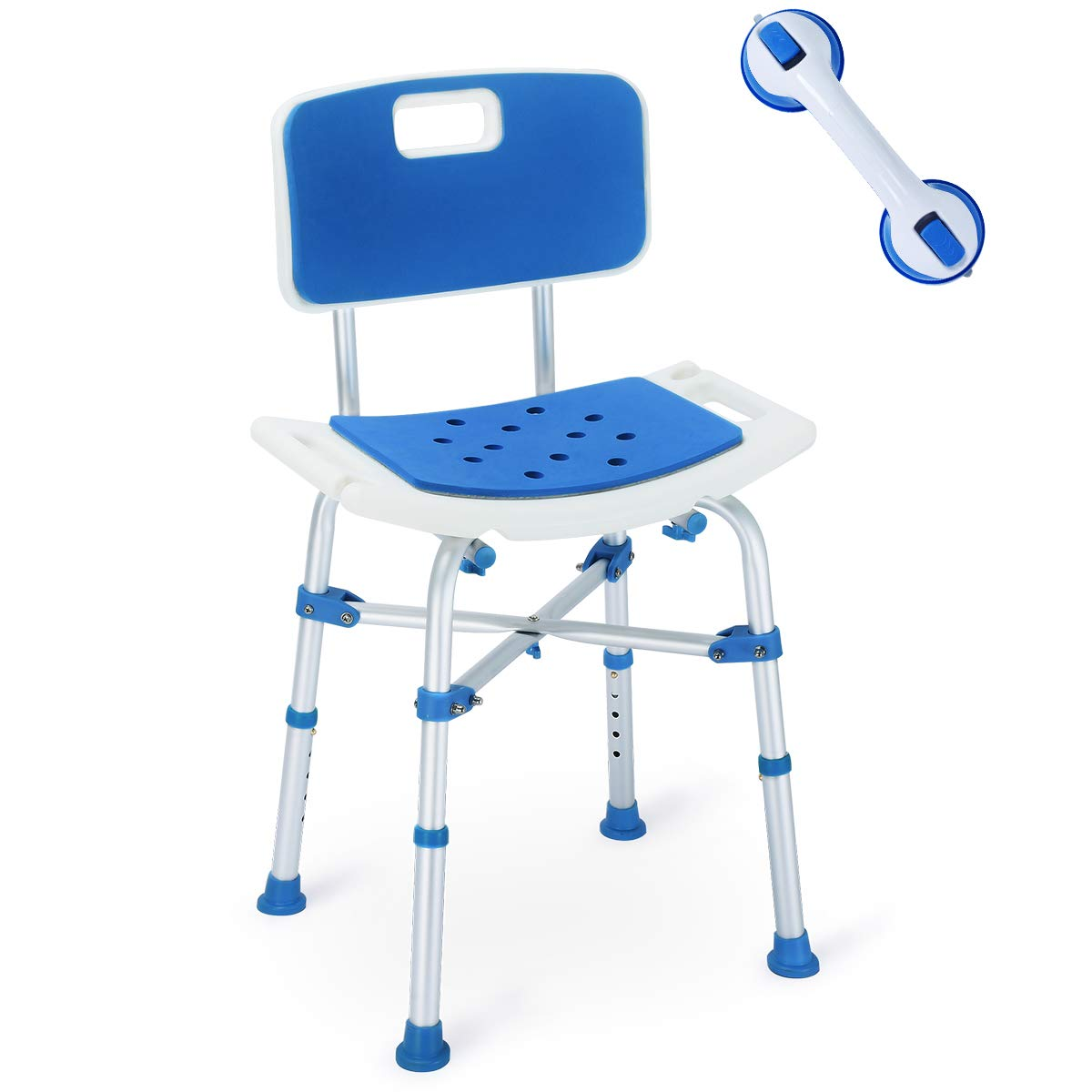 2019 Version! Upgraded Shower Chair, Bariatric Heavy Duty Bath Chair 500 lbs Cap. Transfer Bench w/EVA Paded Seat and Assist Grab Bar (White/Blue) 51czyJjZvcL