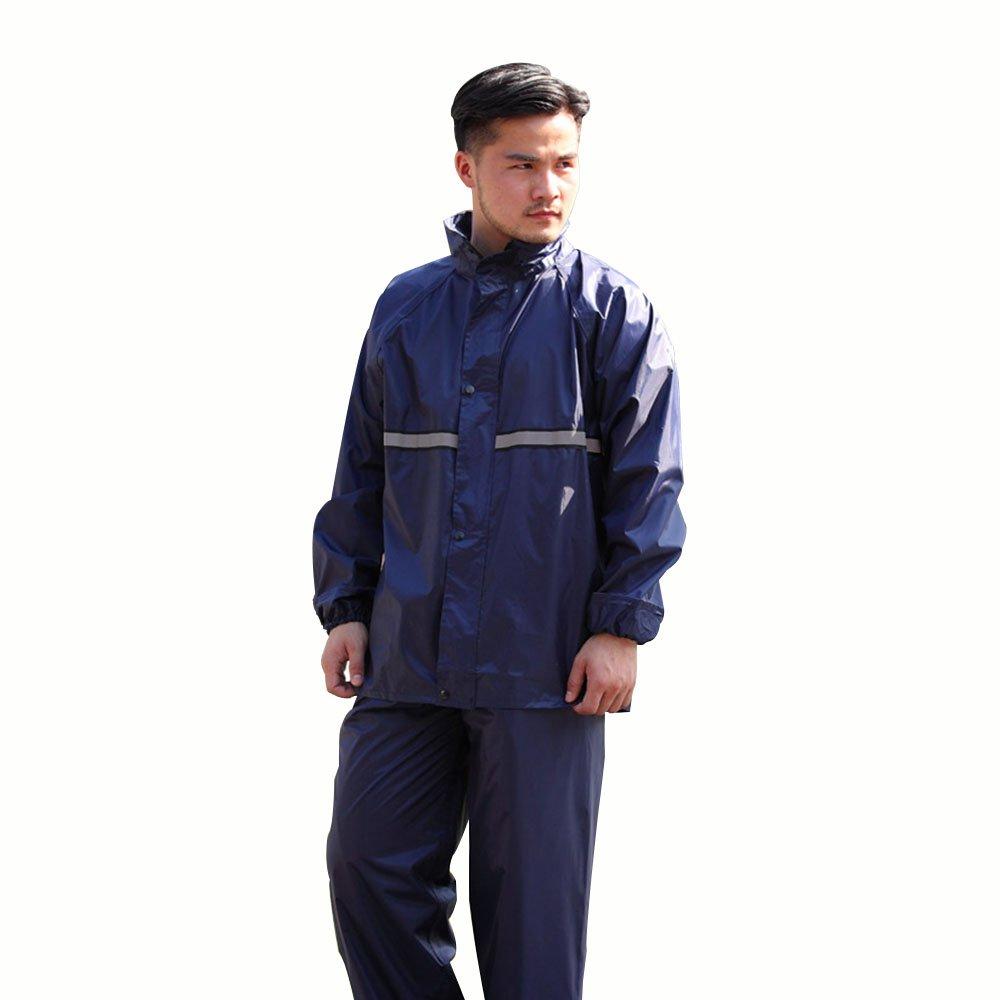 grand DRHYSFSA VêteHommests de Pluie Poncho épais Fendu de Costume Bleu Marine imperméable Homme Adulte Extérieur Imperméable extérieur (Taille   M)