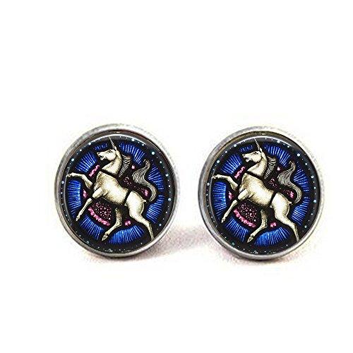 stap Unicorn earrings - Unicorn Stained Glass earrings - White Unicorn Jewelry - Art Nouveau earrings - Renaissance Unicorn earrings