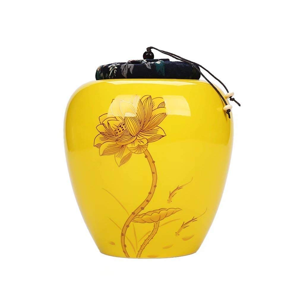 ZAQXSW Medium Cremation Urn Ceramic for Pet and Human Ashes Blue and White Porcelain Ancient Craft-Holds Up to 60 Cubic Inches of Ashes (Color : Yellow) by ZAQXSW