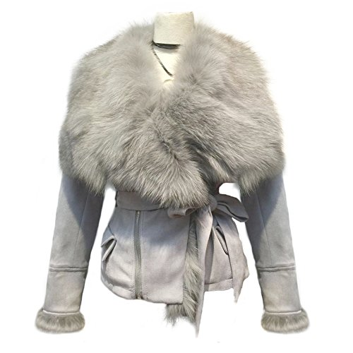 Genuine Suede Leather Skirt - She'sModa Real Fox Fur Collar Coat With Belt Slim Fit Women's Winter Suede Grey Leather Jackets XL