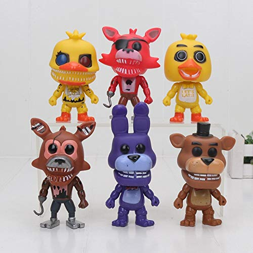 PAPEO Set 6 FNAF Action Figures 4 inch Hot PVC Figure Toy Small Toys Mini Model Figurine Statue Christmas Halloween Birthday Gift Collectible Fazbear for Kids Adults