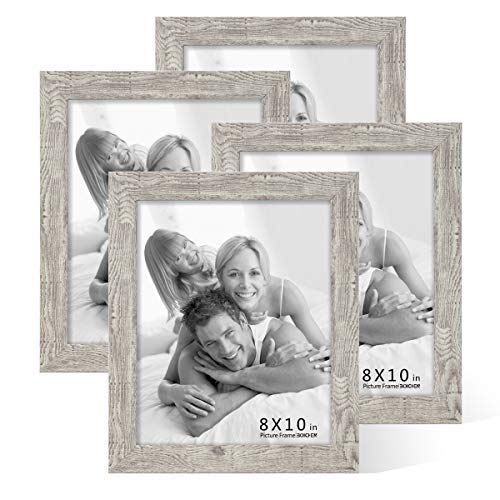 Boichen 4 Pack 8x10 Picture Frame Wood Pattern High Definition Glass Rustic Photo Frame Tabletop or Wall,Wave Woodgrain Photo Frames]()