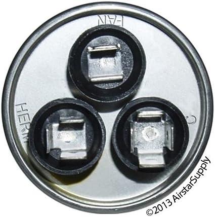 5 MFD at 370 volts 30 GE Genteq Capacitor round 30//5 uf MFD 370 volt 27L877 replaces old GE# 27L877BX, 27L877BZ2, /& 27L877BZ3