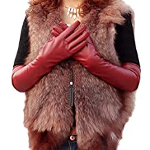 Norbi Women's Faux Leather Elbow Gloves Winter Long Gloves Warm Lined Finger Gloves