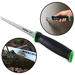 "WilFiks Razor Sharp 6.5"" Pro Jab Saw, Drywall Hand Saw, Perfect For Sawing, Trimming, Gardening, Pruning & Cutting Wood, Wallboards & More, Comfortable Ergonomic Non-Slip Handle, Has A Sharpened Tip"