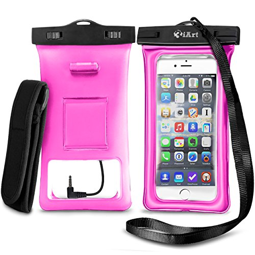 Floating Waterproof Case Dry Bag with Armband & Audio Jack for iPhone 6, 6 plus, 6s, 6s plus, 5s, Samsung Galaxy s6; Eco-Friendly TPU construction Pouch & IPX8 Certified to 100 Feet by 3iART (Pink)
