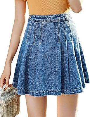 MG & Fashion Stretchy Flare Mini Skater Denim Skirts for Women