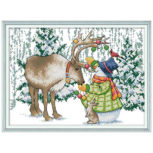Chinese Cross Stitch - Elk Snowman Diy Handmade Needlework Counted 14ct Printed Cross Stitch Embroidery Kit Set Home - Tree Fake Small Supplies Needlepoint Cross Flag Chinese Stitch Glass ()