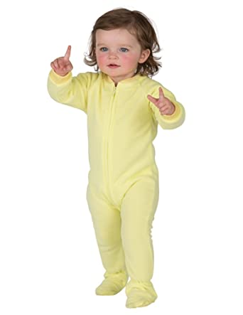 Amazon.com: Footed Pajamas - Mellow Yellow Infant Fleece - Small ...