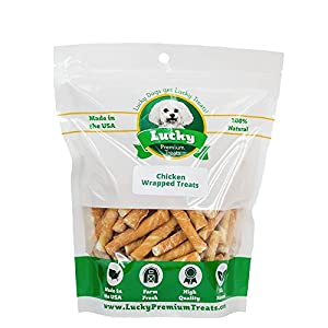 Lucky Premium Treats Chicken Wrapped Rawhide Chews for Toy and Lap Dogs, All Natural Dog Chews (50 Chews)
