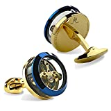 Dich Creat Stainless Steel Blue/Gold Contract Colors Golden Tourbillon Cufflinks With Carbon Fiber Inlay