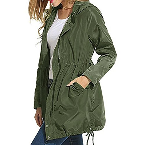 (Women Coat, Gillberry Women Rain Jacket Waterproof Hooded Zip Lightweight Trench Coat Windbreaker (Green, XL))