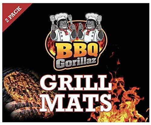 BBQ Grill Mats (Set of 2). Non-Stick Grilling and Baking Mats for Ovens, Gas Grills, Electric & Charcoal Barbecues.