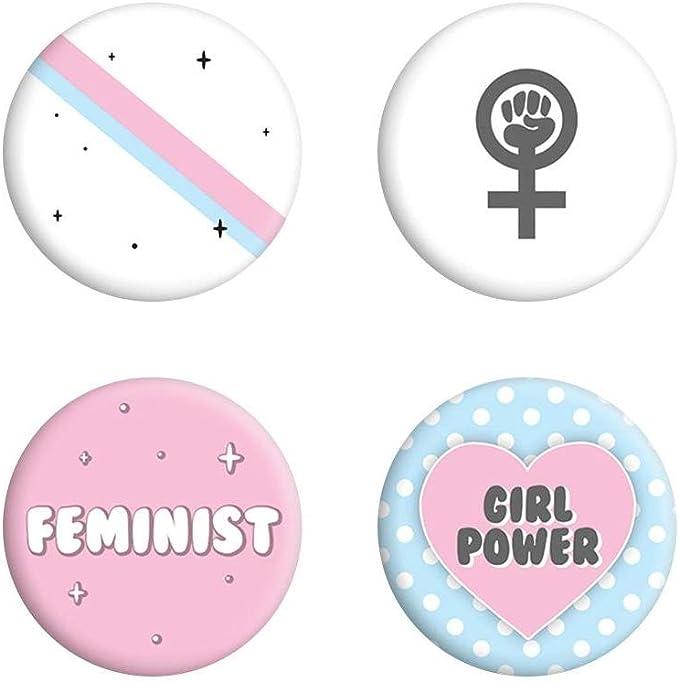 Grindstore - Pack de chapas Girl Power (Talla Única) (Blanco/Rosa/Azul): Amazon.es: Ropa y accesorios