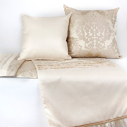 Soft and Romantic Bed Runner with Coordinating Decorative Pillows, Cream Damask Bed Runner and Matching Toss Pillows by Fabrinique