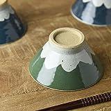 Yamani Pottery Mino Yaki Handmade Mt.Fuji type Japanese Rice Bowl 13cm Green Pattern from Japan