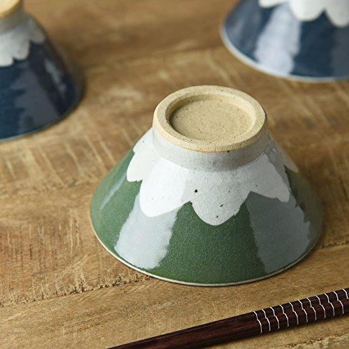 Yamani Pottery Mino Yaki Handmade Mt.Fuji type Japanese Rice Bowl 13cm Green Pattern from Japan by Yamani Pottery