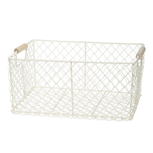 The Lucky Clover Trading Mesh Utility Baskets with Wood Handles, White, Set of 2