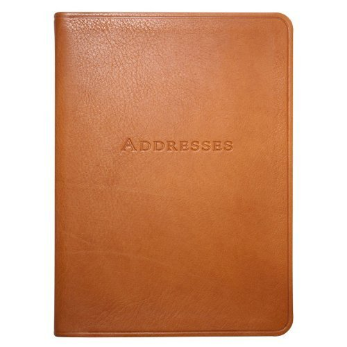 7 Inch Leather Bound Desk Address Book, Genuine Calfskin Leather, 1,400 Entries, British Tan
