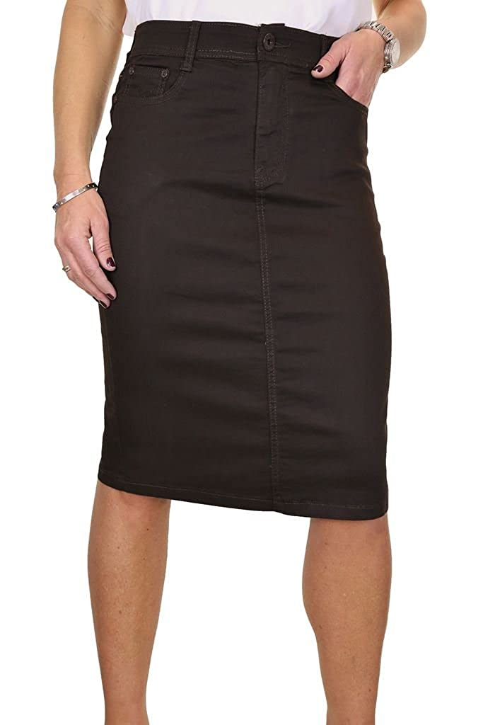 ICE (2516-7) Plus Size Stretch Chino Sheen Jeans Style Skirt Brown