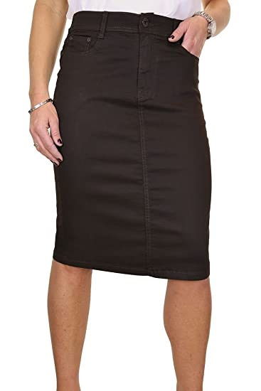 ICE 2516 7 Plus Size Stretch Chino Sheen Jeans Style Skirt Brown At Amazon Womens Clothing Store