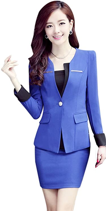Yinxiang Liying - Traje con Falda - para Mujer Azul Marino L ...