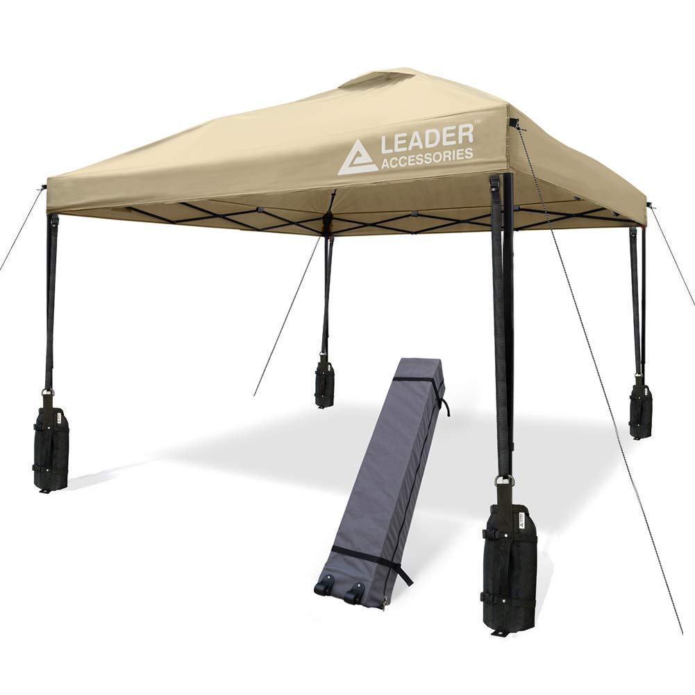 Leader Accessories 10' x 10' Instant Canopy with 4-Pack Canopy Weights & One Wheeled Carry Bag (Beige)