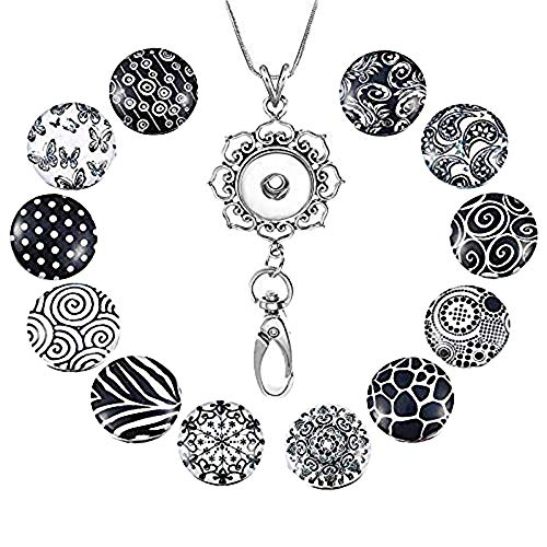 Souarts Womens Office Lanyard ID Badges Holder Necklace with 12pcs Snap Charms Jewelry Pendant Clip (Black Pattern) -