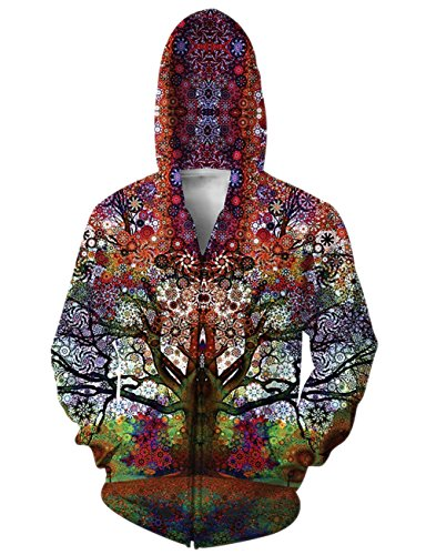 RAISEVERN Galaxy Tree Print Zip Up Pockets Pullover Hoodie Sweatshirt Couple