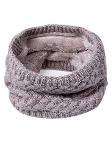 EVRFELAN Infinity Scarf Winter Women Circle Loop Scarves Warm Kids Neck Warmer Chunky Knit Soft Thick Fashion Ladies Accessories Ribbed Girls Men Boy Collar (Khaki) (Accessories Khaki : Clothing Womens)