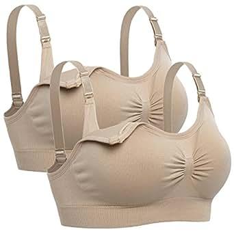 Lataly Womens Sleeping Nursing Bra Wirefree Breastfeeding Maternity Bralette Pack of 2 Color Beige Size S