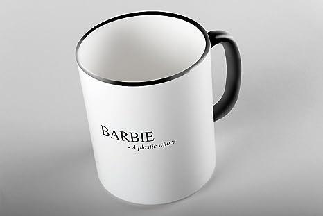 Definición de Barbie de Bullshirt color negro Two-Tone taza., cerámica, blanco