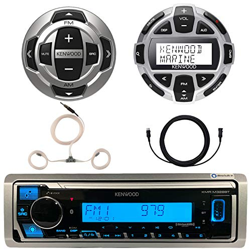 Kenwood Marine Boat Yacht Digital Media USB AUX Bluetooth Stereo Receiver (No CD), Kenwood Digital LCD Display Wired Remote, Kenwood Wired Remote, 22 Enrock AM/FM Antenna, 7 Meter 22 Ft Extension
