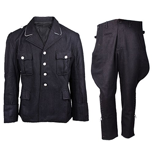 Heerpoint Reproduction Ww2 Wwii German Elite M32 Wool Tunic & Breeches Jacket & Trousers Military Uniform Set (Black) (XL)