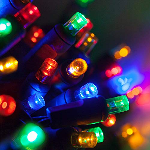 5mm LED Wide Angle Multicolor Prelamped Light Set, Green Wire - 70 5mm Multi Color LED Christmas Lights, 4 Spacing