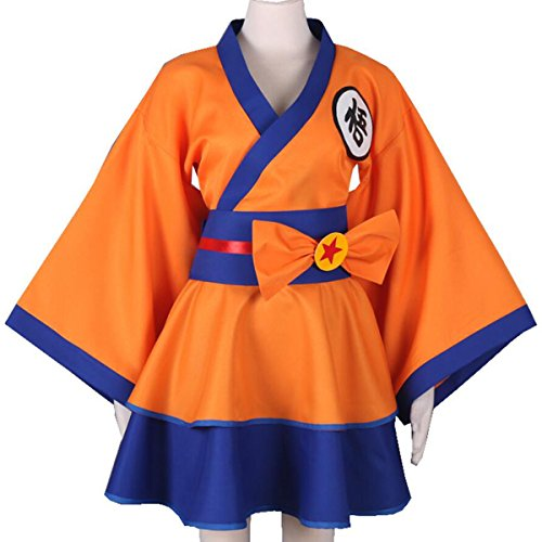 NSOKing New Japanese Dragon Ball Z Cosplay Costume Party Maid Dress Outfit (Medium, Orange)
