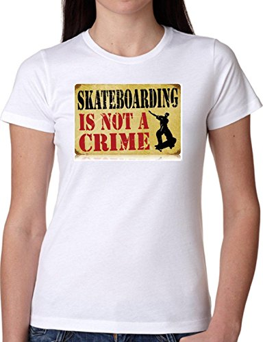 T SHIRT JODE GIRL GGG22 Z1322 SKATEBOARDING IS NOT A CRIME VINTAGE FASHION COOL BIANCA - WHITE XL
