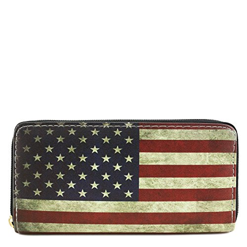Single Zip Around Vintage American Flag Print Wallet