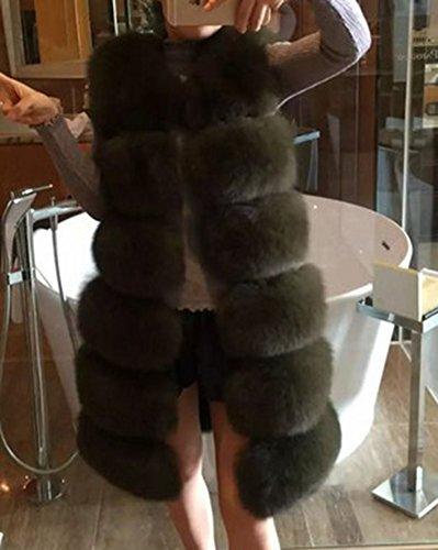 En Femmes Manteau Fourrure Sans Long Gilet Arm Vert Pour Vest Fausse Manches Parka vqXxftEw