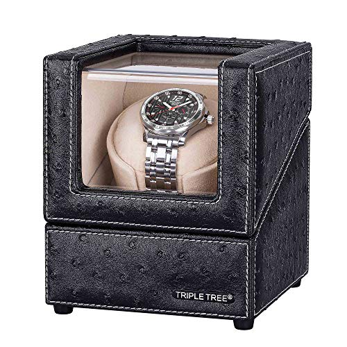 Single Watch Winder Newly Upgraded, with Flexible Plush Pillow, in Wood Shell and Black Leather, Japanese Motor, 4 Rotation Mode Setting, Fit Lady and Man Automatic Watches (Heiden Watch Box)