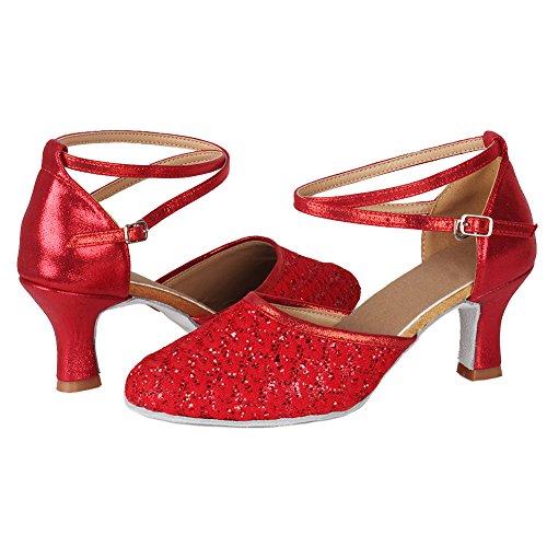 Salón 1802 Rojo Mujer 6 7cm Cordón Baile Latino Cuero Hroyl Zapatos De 4wWqnvg0