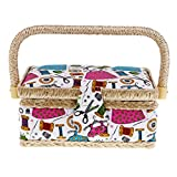 Flameer Portable Print Pattern Sewing Box Basket For Women Girls DIY Patchwork Tool Case - Green