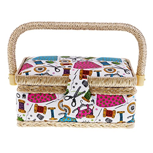 Flameer Portable Print Pattern Sewing Box Basket For Women Girls DIY Patchwork Tool Case - Green by Flameer