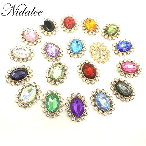 Maslin Nidalee Gold Rhinestone Button Iron on Diamante Bridal Appliques Wholesale Crystal Patches Trim Beaded Hotfix Jewelry Transfers - (Color: 8)