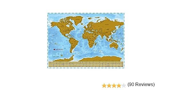 Levivo Mapamundi para rascar, mapa XXL con capa metálica para ...
