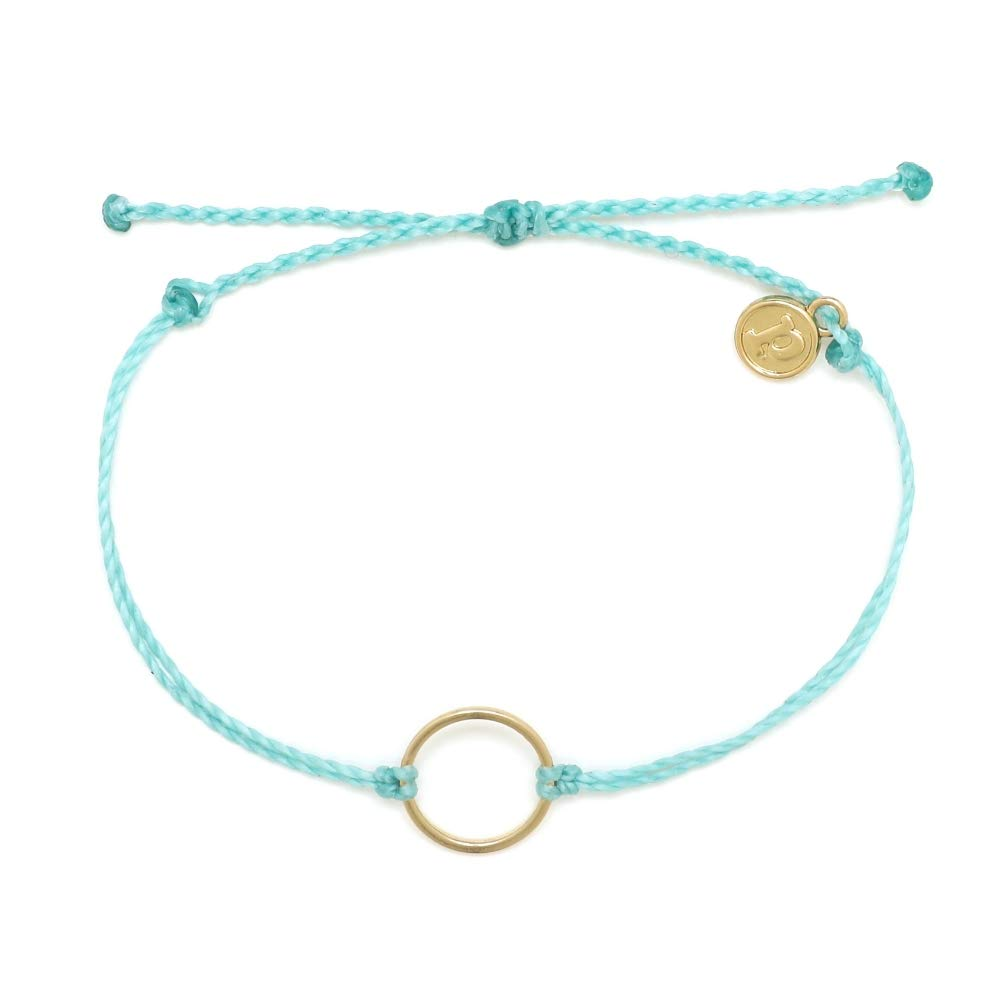 Pura Vida Gold Circle Mint Bracelet - Waterproof, Artisan Handmade, Adjustable, Threaded, Fashion Jewelry for Girls/Women by Pura Vida