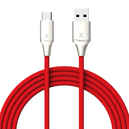 Xcentz USB Type C Cable 6ft, Premium Double Nylon Braided Type-C to USB-A Fast Charging Cable with LED Light for Galaxy S9/S8/Note 8, LG V30/V20/G7/G6/G9, Sony XZ, MacBook & More
