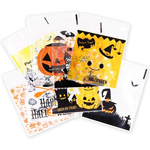 400 Pcs Halloween Plastic Cellophane 8 Different Style Cookie Trick or Treat Bags Candy Bags Self Adhesive Clear Cookie Bags for Party Gift